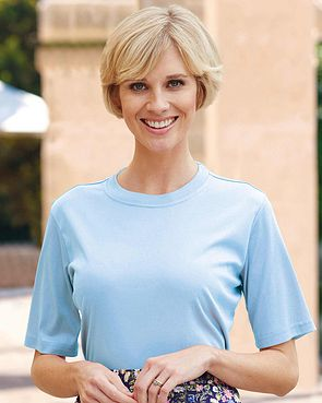 Silky Cotton Crew Neck Top - Pale Blue