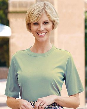 Silky Cotton Crew Neck Top - Sage