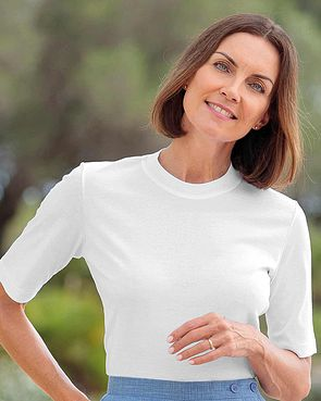 Silky Cotton Crew Neck Top - White