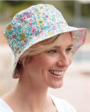 Liberty Print Floral Reversible Hat - Pink Green