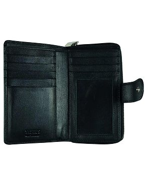 Zipped Leather Purse - Black