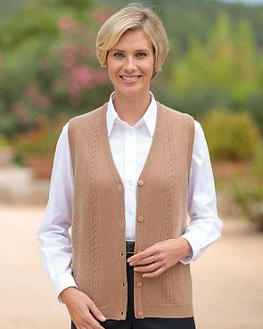 Lambswool Cable Waistcoat - Camel