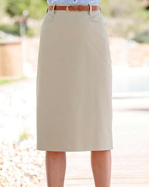 Chino Pure Cotton Twill Straight Skirt - Beige