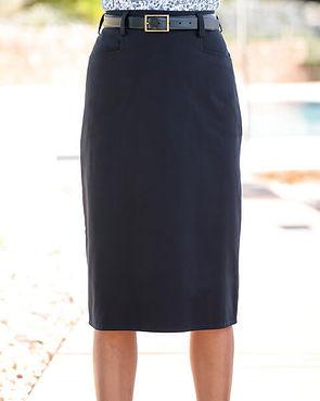 Chino Pure Cotton Twill Straight Skirt - Navy