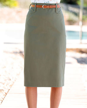Chino Pure Cotton Twill Straight Skirt - Olive