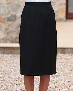 Sandown Wool Mix Straight Skirt - Black