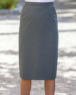 Sandown Wool Mix Straight Skirt - Slate