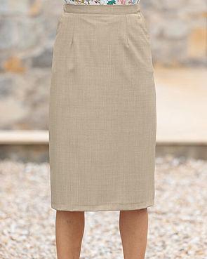 Sandown Wool Mix Straight Skirt - Stone