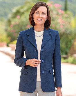 Tuscany Midnight Blue Pure Wool Tweed Jacket
