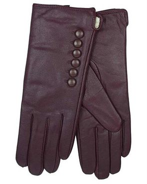 Leather Button Detail Gloves - Berry