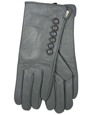 Leather Button Detail Gloves - Grey