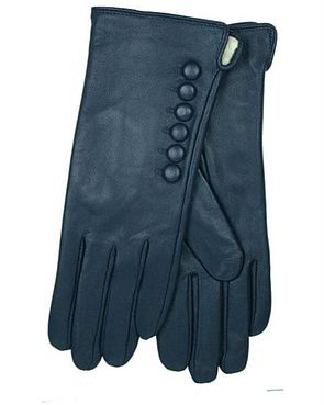 Leather Button Detail Gloves - Navy
