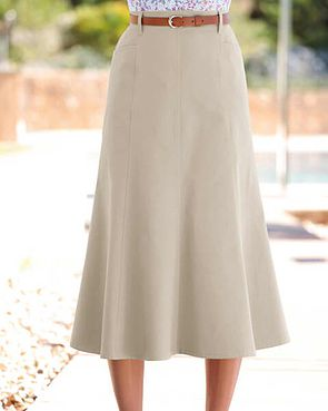 Chino Pure Cotton Twill Flared Skirt - Beige