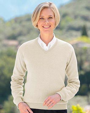 Lambswool V Neck Sweater - Linen