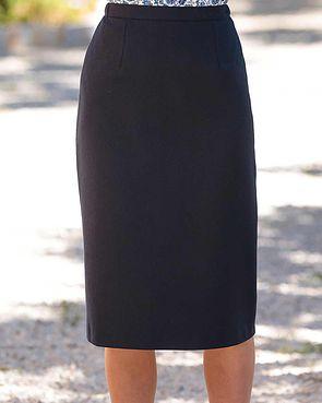 Flannel Straight Skirt - Navy