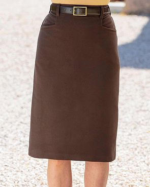 Moleskin Straight Skirt - Chocolate