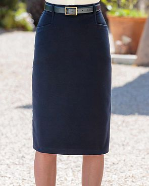 Moleskin Straight Skirt - Navy