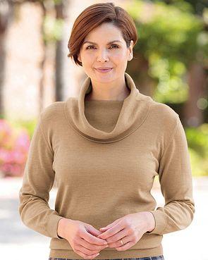 Merino Wool Cowl Neck Sweater