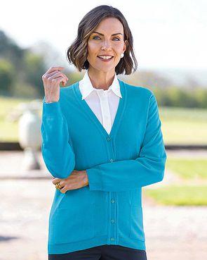 Merino Cardigan  - Turquoise