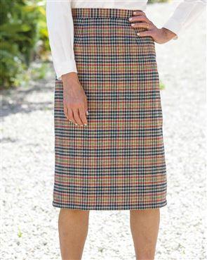Helston Easycare Classic Check Straight Skirt