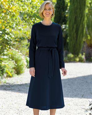 Maisie Wool Blend Navy Dress
