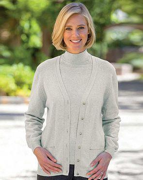 Cotton/Cashmere Cardigan - Grey