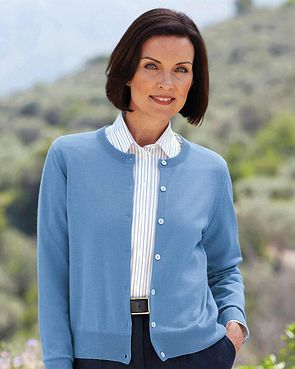 Merino Wool Short Cardigan - Bluebell
