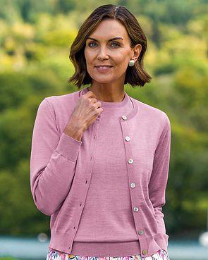 Merino Wool Short Cardigan - Dusky Pink