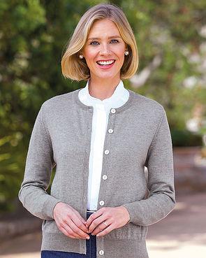 Merino Wool Short Cardigan - Grey