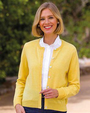 Merino Wool Short Cardigan - Lemon