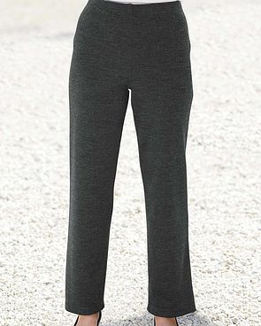 Wool Blend Pull on Trousers  - Charcoal