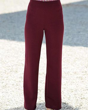 Wool Blend Pull on Trousers  - Claret