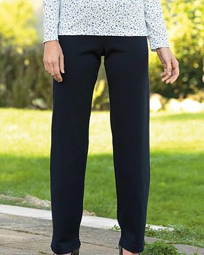 Wool Blend Pull on Trousers  - Navy
