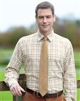 Tattersall Check Cotton and Wool Green and Rust Shirt