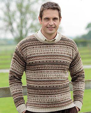 Shetland Fairisle Crew Neck Sweater  Mens