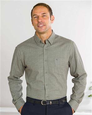 Brushed Cotton Sage Green Shirt