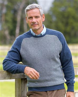 Herringbone Denim Lambswool Sweater