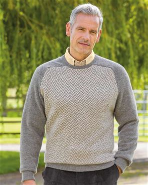 Herringbone Grey Lambswool Sweater