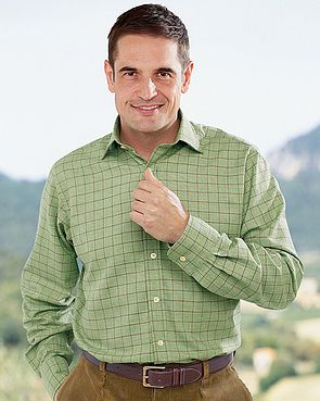 Tattersall Check Cotton and Wool Green and Red Shirt