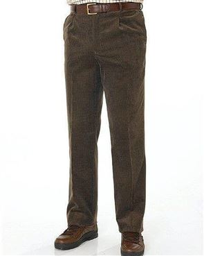 Mid Brown Needlecord Trousers  Mens