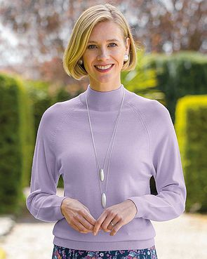 Merino Wool Turtle Neck Sweater - Amethyst
