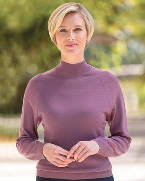 Merino Wool Turtle Neck Sweater - Grape