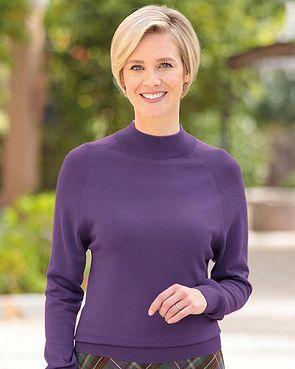 Merino Wool Turtle Neck Sweater - Violet