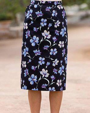 Callie Cotton Mix Straight Skirt