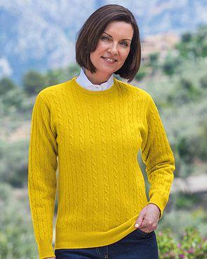Lambswool Cable Crew Neck Sweater  Ladies - Mustard