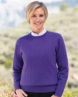 Lambswool Cable Crew Neck Sweater  Ladies - Violet