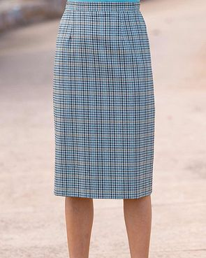 Madeira Wool Blend Checked Straight Skirt