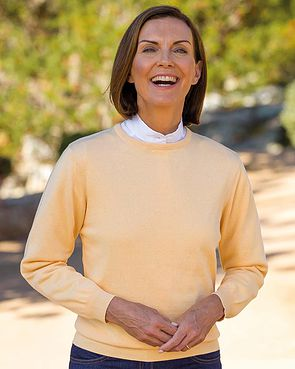 Cotton Crew Neck Sweater - Apricot
