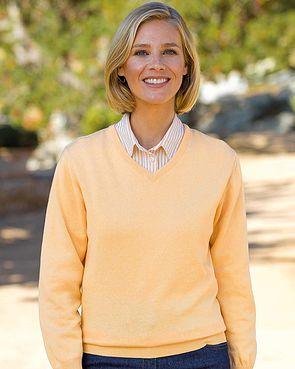 Cotton V Neck Sweater - Apricot