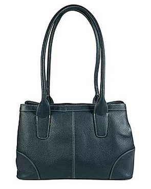 Leather Twin Compartment Bag - Navy